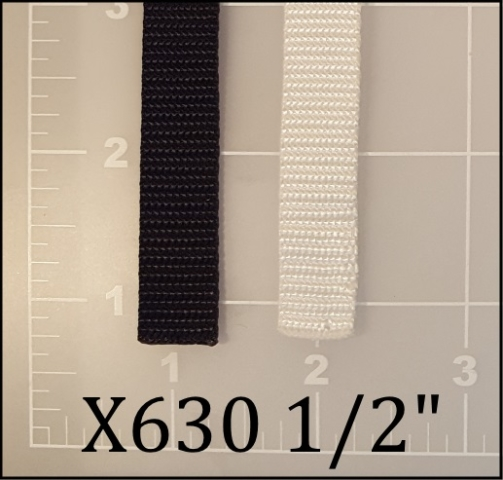 "nylon black white webbing 1/2"" ACW American Cord and Webbing AC&W 01108 02250"