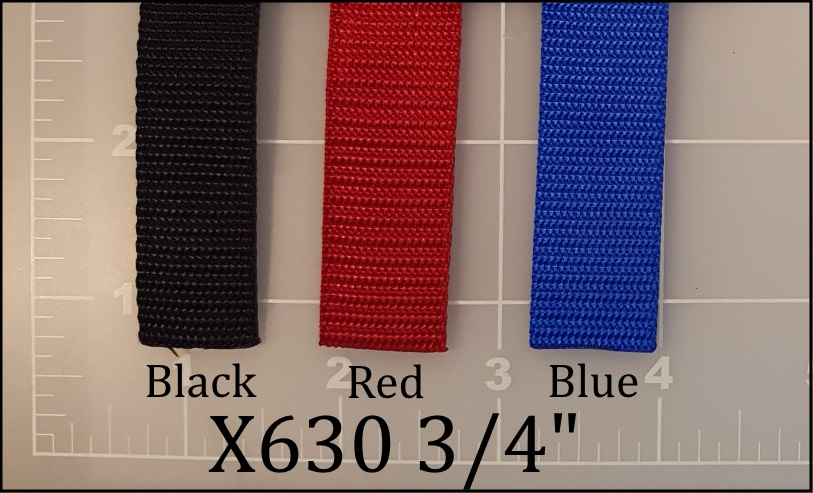 "nylon black red blue webbing 3/4"" ACW American Cord and Webbing AC&W 05014 06906 05223"